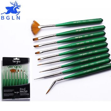 BGLN 9Pcs/set Nylon Hair Nail Art Brush Wooden Paint Brushes Set Artists Paint Brush For Acrylic Oil