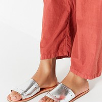Silver Hearts Slide Sandal   Urban Outfitters