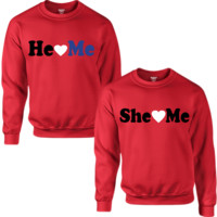 HE LOVES ME SHE LOVES ME  COUPLE SWEATSHIRT