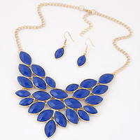 Boutique Jewelry Sets For Women Vintage Indian Turkish Jewelry Set Resin Leaf Statement Necklace Earrings Set Jewelry