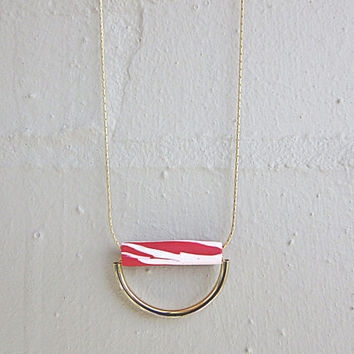 NL-228 Red and White Marble Vein Pattern Polymer Clay Tube with Shiny Gold Plated Curved Tube Pendant in 16K Gold Plated Brass Chain