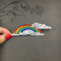 So Cute Angry MASHIMARO rainbow clothing patches embroidery iron on patches iron on rainbow sew on patch