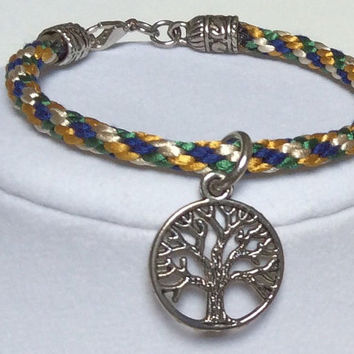 "Braided Bracelet, Rope Bracelet, Braided Kumihimo Bracelet, Stackable Bracelet Multi Colored with Tree - Of - Life Charm - 7 1/2"" in length"