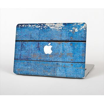 The Worn Blue Paint on Wooden Planks Skin Set for the Apple MacBook Pro 13""