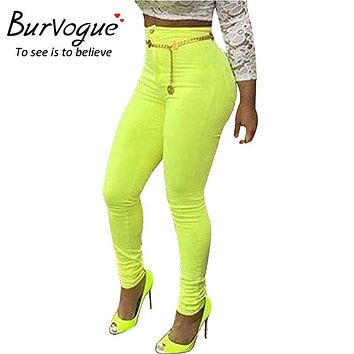 Burvogue New Women Casual Ripped Jeans Slimming Sexy Long Jean Pants for Girl Skinny Jean Pants High Waist Skinny Jeans