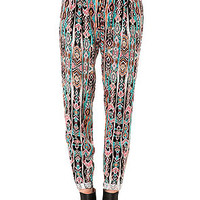 The Linear Trouser Pant in Black and Coral
