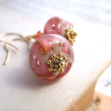 summer jewelry coral lampwork glass earrings by shadowjewels