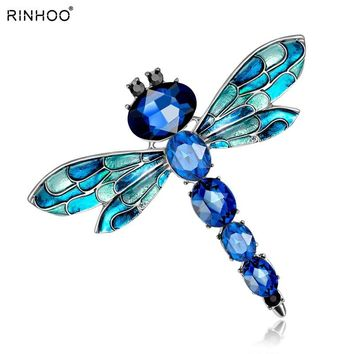 Vintage 3 Colors Crystal Rhinestone Dragonfly Brooches for Women Cloth Brooch Pins Jewelry Accessories Gift For Women Jewelry