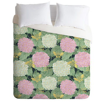 Belle13 Hydrangea And Butterflies Duvet Cover