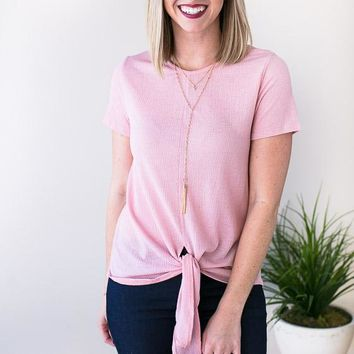 On Call Tie Front Top - Pink