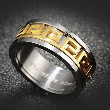 Luxury Brand Large Wide 8mm Titanium Steel Gold Color Ring Greece Metal Rings