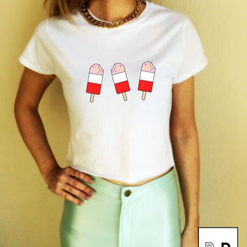 Ice Lollies Lolly T Shirt crop top illustration Unisex White S M L XL Tumblr Instagram Blogger