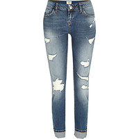 River Island Womens Mid wash distressed Daisy slim jeans