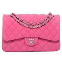 Chanel Hot Pink Matte Iridescent Caviar Jumbo Classic 2.55 Double Flap Bag