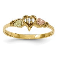 10k Tri-color Black Hills Gold Diamond Heart Ring