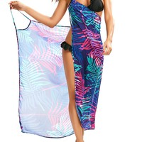 Tropical Leaf Cover Up Slip Dress