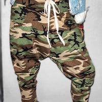 Unisex FLEXIN' NO POCKETS Camo Camouflage Harem Pants by Wasss Gucci Xsmall Small Medium Large