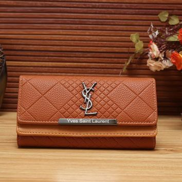 YSL Yves Saint Laurent Women Fashion Leather Shopping Wallet Purse-2