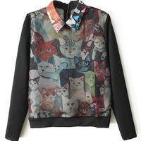 ROMWE Multi Cats Print Black Sweatshirt