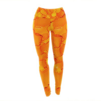 "Claire Day ""Yellow"" Orange Yoga Leggings"