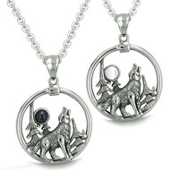 Love Couple Howling Wolf Moon Forces of Nature Simulated Onyx White Cats Eye Pendant Necklaces