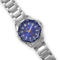 Geneva Silver Tone Men's Watch with Blue Face