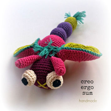ITALIAN PDF Pattern Mosquito Amigurumi - Insect Dragonfly Puppet Tutorial - Crochet Doll Pattern - Soft Toy- English and Italian Language