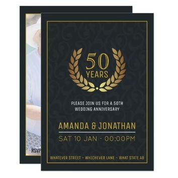 50th Golden Wedding Anniversary add photo Invite