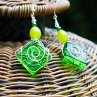 Green Wire Wrapped Square Glass Earrings