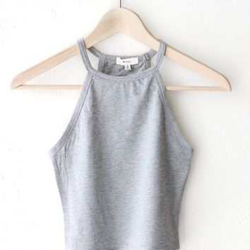 Sleeveless Crop Top - Heather Grey