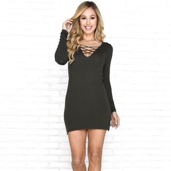 Good Morning Sweater Dress in Olive