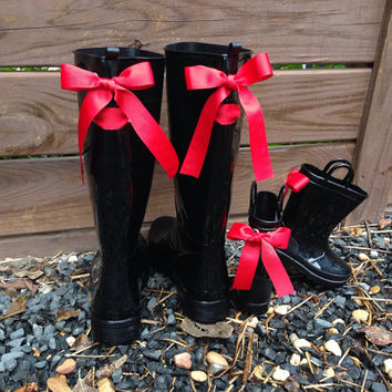 Mother and Daughter Rain Boots with Red Bows