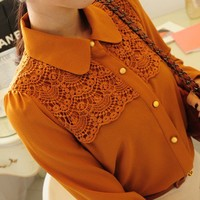 Lace flat orange yellow black collar blouse