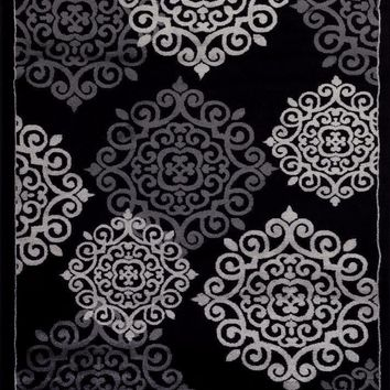 2706 Black Medallion Transitional Area Rugs