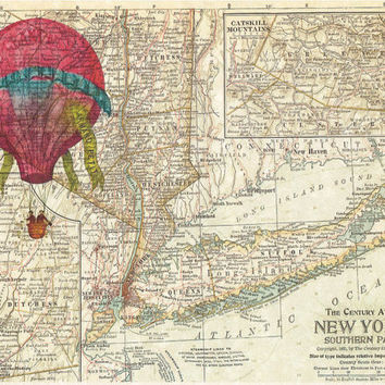 Hot Air Balloon Over New York Map -Dictionary Print Vintage Book Print Page Art, Upcycled Antique Book Art, Vintage Mixed Media