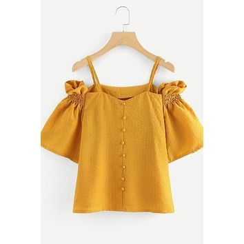 Yellow Off The Shoulder Pleated Sleeve Top