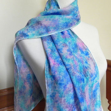 Hand Dyed Silk Satin Scarf, Watercolor Pattern in Teal, Blue, Magenta and Plum, Ready to Ship