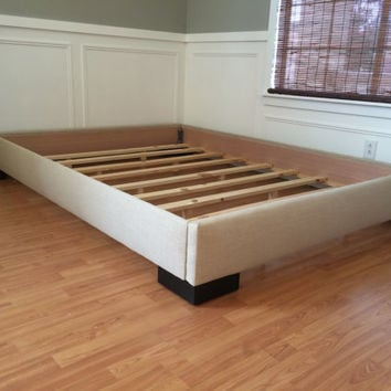 King or Cal King upholstered platform bed frame