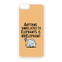 Anything Unrelated To Elephants Is Irrelephant White Silicon Rubber Case for iPhone 6 by Chargrilled
