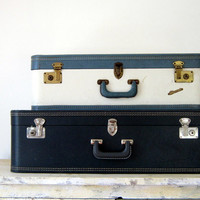 Large Navy Blue Vintage Suitcase Luggage Prop Storage Home Decor Wedding Nautical Decor