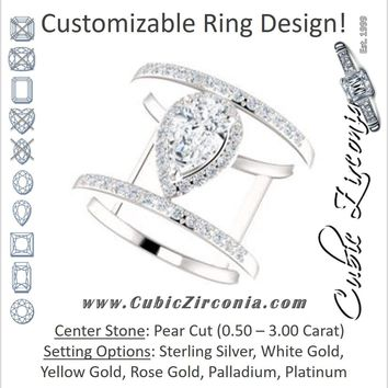 Cubic Zirconia Engagement Ring- The Jersey (Customizable Pear Cut Halo Design with Open, Ultrawide Harness Double-Pavé Band)