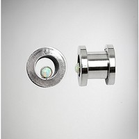 Silver with Opal Tunnel Plug 2 Pack - Spencer's