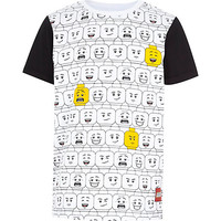 River Island Boys white lego brick print t-shirt