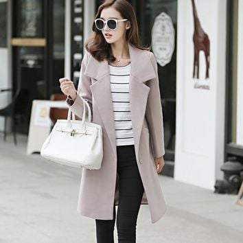 2017 New Elegant Lady Long Cashmere Coat Female European Styel Warm Autumn Winter Wool Women Jacket Coat Casaco Feminino XXL