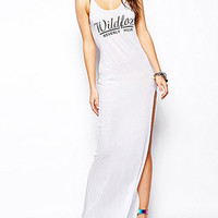 "White ""WILDFOX"" Print Strap Maxi Dress With Slit"
