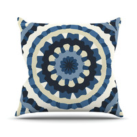 "Laura Nicholson ""Ribbon Mandala"" Navy Tan Throw Pillow"