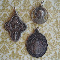 Vintage Religious Medals - 4 Way Cross - Sacred Heart Medal