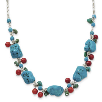 Sterling Silver Dyed Howlite/Turquoise/Red Coral Necklace QH2313