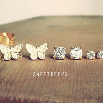 Sale Assorted Spring Butterfly Rhinestone Studs Set with Detachable EarCuff