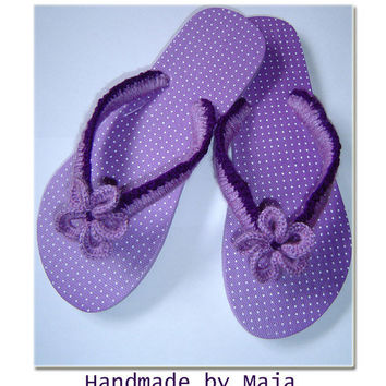 Flip Flops - crocheted - flower flip flops